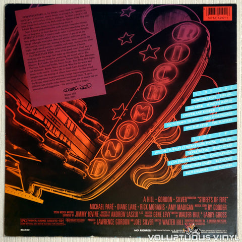 Various ‎– Streets Of Fire Soundtrack - Vinyl Record - Back Cover