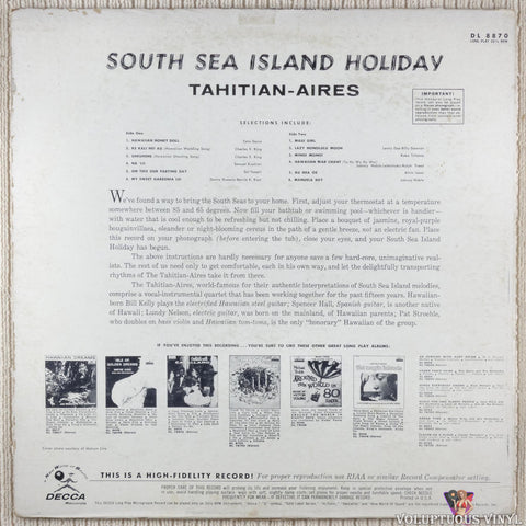 Tahitian-Aires ‎– South Sea Island Holiday vinyl record back cover