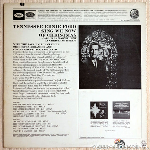 Tennessee Ernie Ford ‎– Sing We Now Of Christmas - Vinyl Record - Back Cover