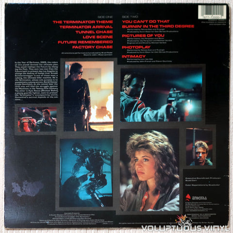 Various ‎– The Terminator Original Soundtrack - Vinyl Record - Back Cover