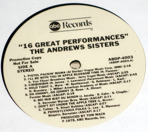 The Andrews Sisters ‎Sixteen Great Performances Vinyl Record ABC Label