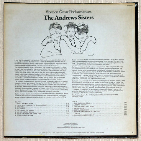 The Andrews Sisters ‎Sixteen Great Performances Vinyl Record Back Cover