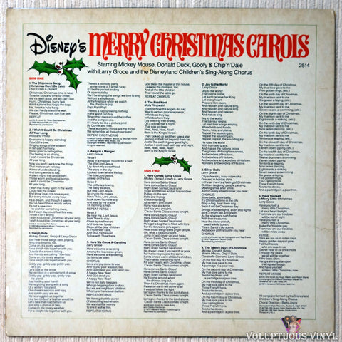 The Disneyland Children's Sing-Along Chorus ‎– Disney's Merry Christmas Carols vinyl record back cover