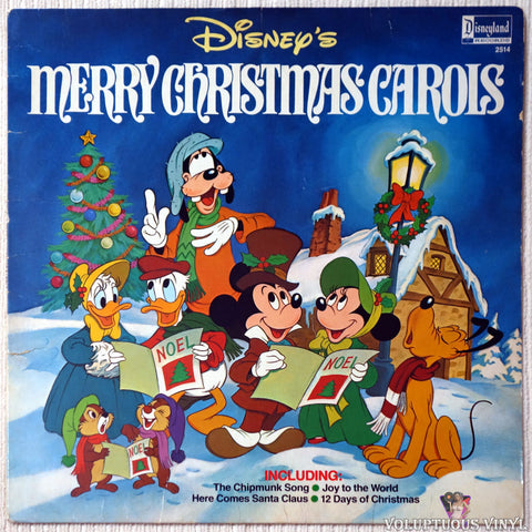 The Disneyland Children's Sing-Along Chorus ‎– Disney's Merry Christmas Carols vinyl record front cover
