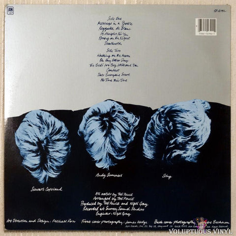 The Police ‎– Reggatta De Blanc vinyl record back cover