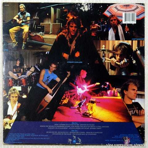 The Police ‎– Zenyatta Mondatta vinyl record back cover