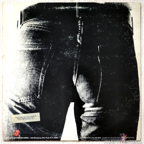 The Rolling Stones ‎– Sticky Fingers vinyl record back cover