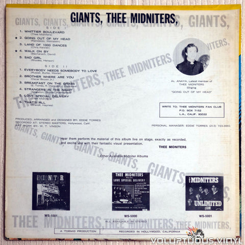 Thee Midniters ‎– Giants - Vinyl Record - Back Cover