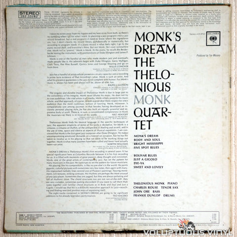 The Thelonious Monk Quartet ‎– Monk's Dream - Vinyl Record - Back Cover