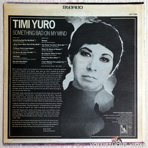 Timi Yuro ‎– Something Bad On My Mind - Vinyl Record - Back Cover