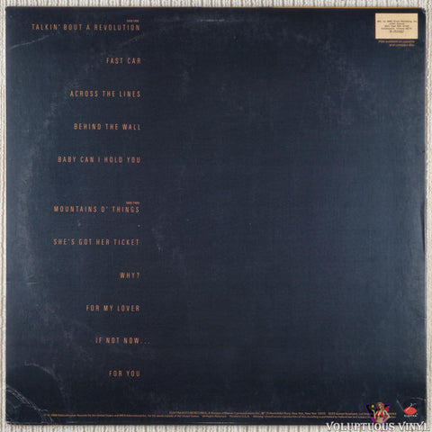 Tracy Chapman ‎– Tracy Chapman vinyl record back cover