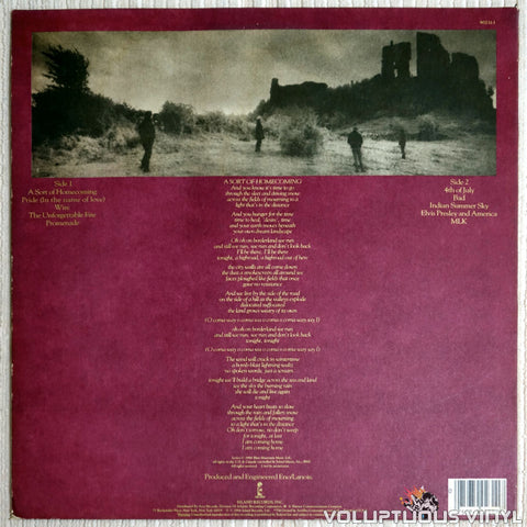 U2 ‎– The Unforgettable Fire - Vinyl Record - Back Cover