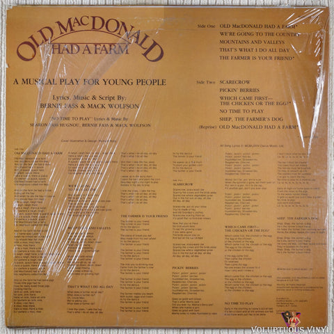 Unknown Artist ‎– Old MacDonald Had A Farm vinyl record back cover