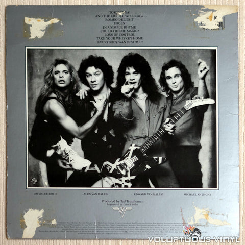 Van Halen ‎– Women And Children First - Vinyl Record - Back Cover