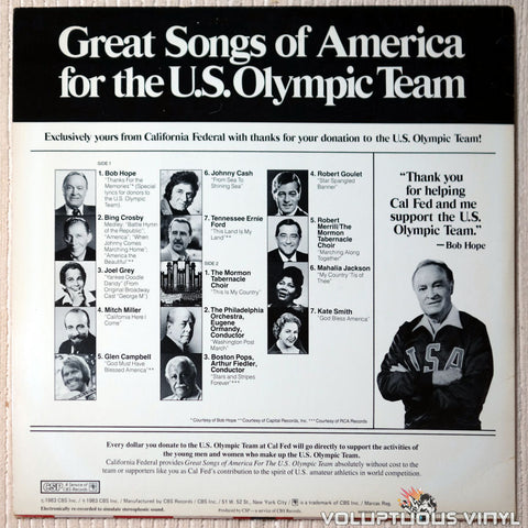 Various ‎– Great Songs Of America For The U.S. Olympic Team vinyl record back cover