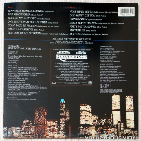 Various ‎– Rhinestone: Original Soundtrack - Vinyl Record - Back Cover