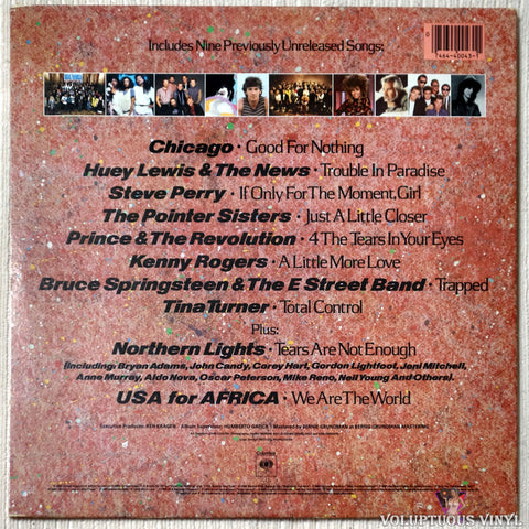 Various ‎– We Are The World vinyl record back cover