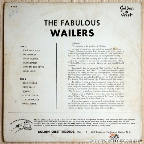 The Wailers ‎– The Fabulous Wailers - Vinyl Record - Back Cover