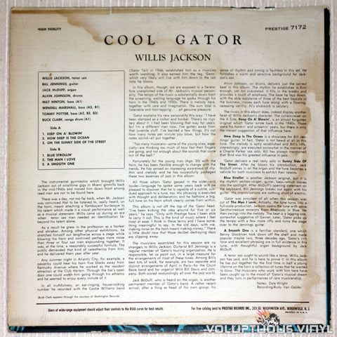 "Willis Jackson ‎– Cool ""Gator"" - Vinyl Record - Back Cover"