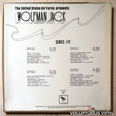 Wolfman Jack ‎– The United States Air Force Presents Wolfman Jack: Series #71 - Vinyl Record - Back Cover