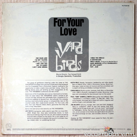The Yardbirds ‎– For Your Love vinyl record back cover