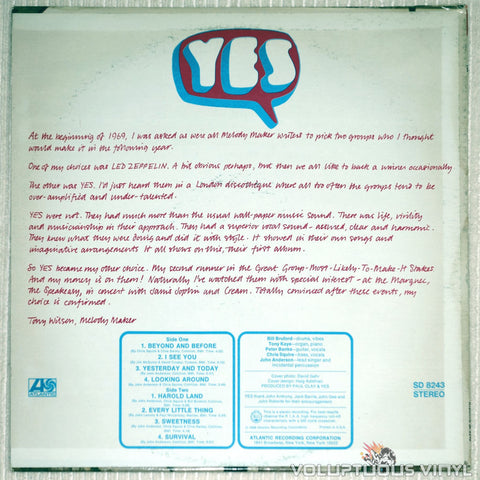 Yes ‎– Debut Album - Vinyl Record - Front Cover