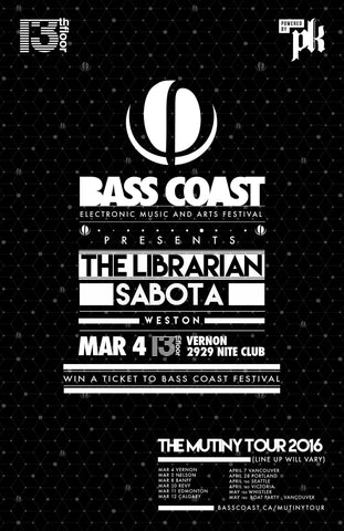 BASS COAST - The Mutiny Tour 2016 - The Librarian & Sabota