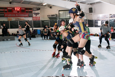 roller derby women wearing wodbottom shorts. David Dyte  My derby name is Rest N Peaces and I skate for Team Louisiana