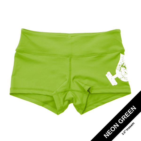 Neon Green Shorties-Booty Shorts-WodBottom-Womens CrossFit Shorts-WodBottom