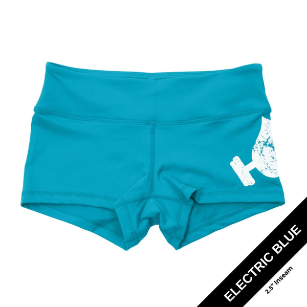 Electric Blue Shorties-Booty Shorts-WodBottom-Womens CrossFit Shorts-WodBottom