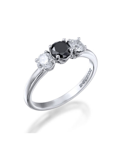 black diamond unique engagement ring under $2000