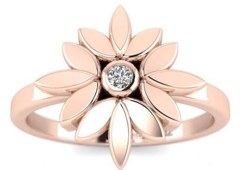 Small Diamond Flower Promise ring