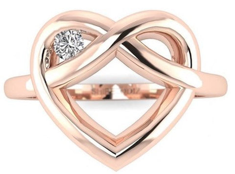 Real diamond Winking Heart Promise Ring