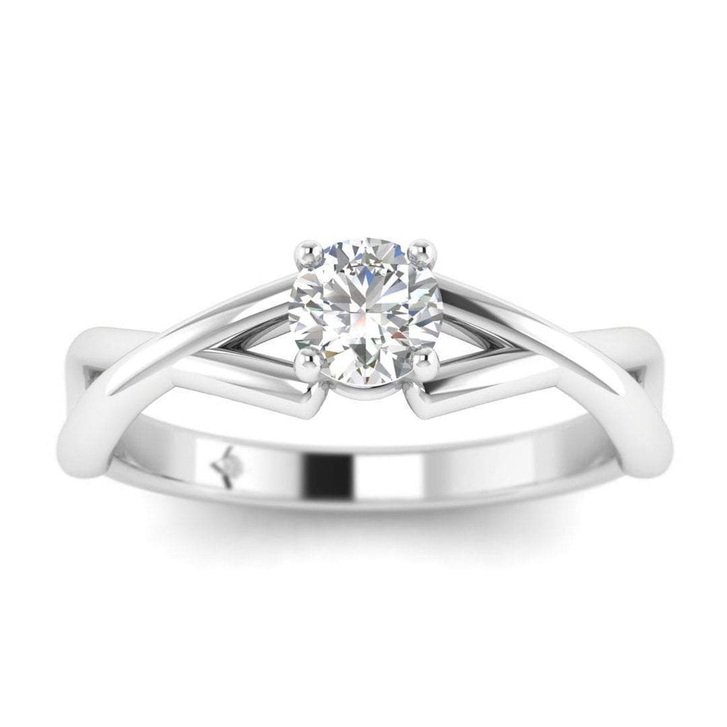 EN-SO-14-NAT-D-SI1-EX 0.15 carat Round Diamond Infinity Solitaire Engagement Ring in 14K White Gold