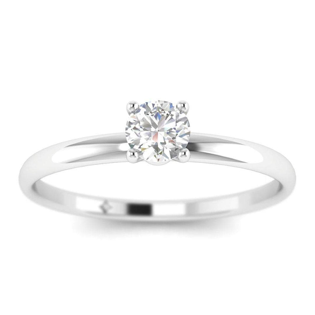 0.15 carat Round Diamond Solitaire Engagement Ring in 14K White Gold - Custom Made