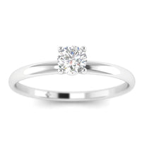 EN-SO-14-NAT-D-SI1-EX 0.15 carat Round Diamond Solitaire Engagement Ring in 14K White Gold