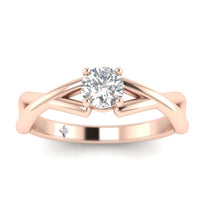 EN-SO-14-NAT-D-SI1-EX 0.20 carat Round Diamond Infinity Solitaire Engagement Ring in 14K Rose Gold