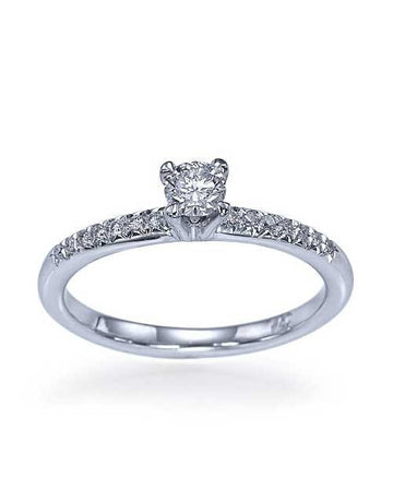 Engagement Rings 0.27 carat Diamond Solitaire Engagement Ring in 14K White Gold