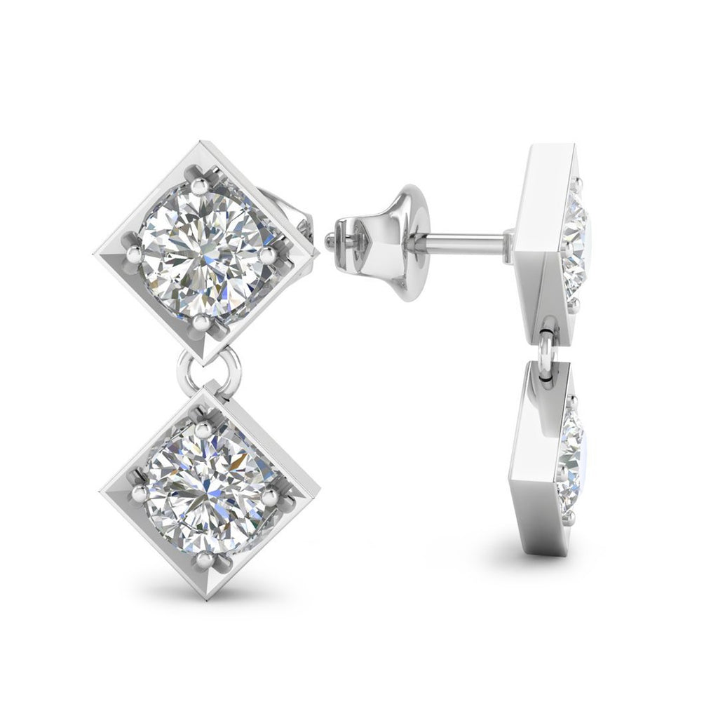 Daily Deal 0.2ct Diamond White Gold Designer Earrings