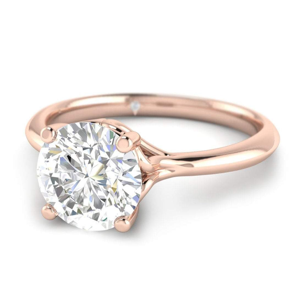 ManyChat 0.30 carat I/SI1 Rose Gold Round Diamond Engagement Ring Vintage Antique-Style Cathedral