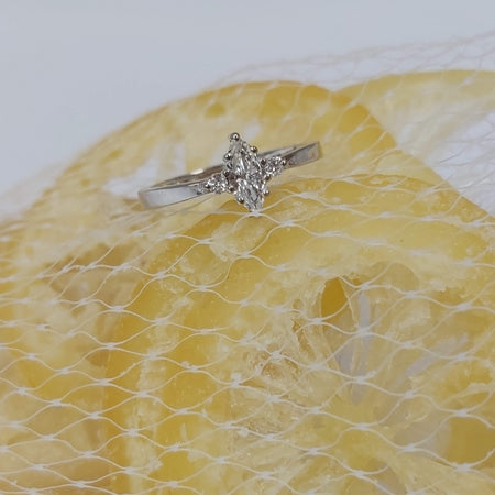 Sale 0.35 carat Marquise Cut 3-Stone Diamond Ring in 14k White Gold