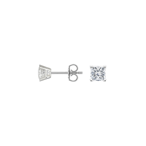 Sale 0.36 carat D-VS1 Princess Cut Diamond Stud Earrings