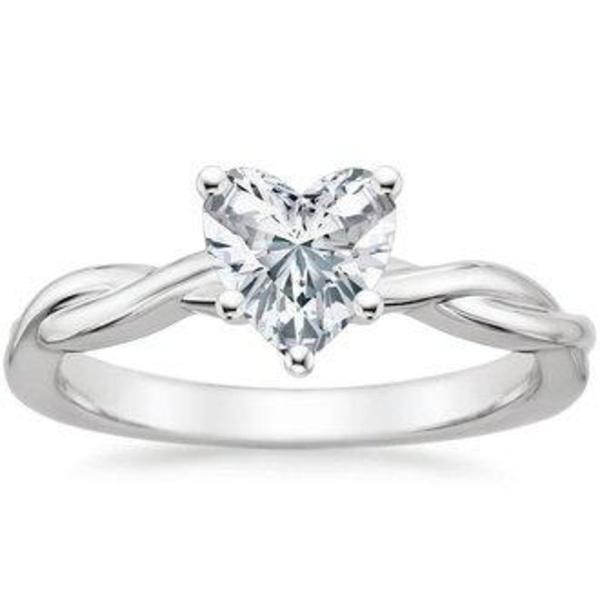Sale 0.37 carat Heart Diamond 14k White Gold  Engagement Ring