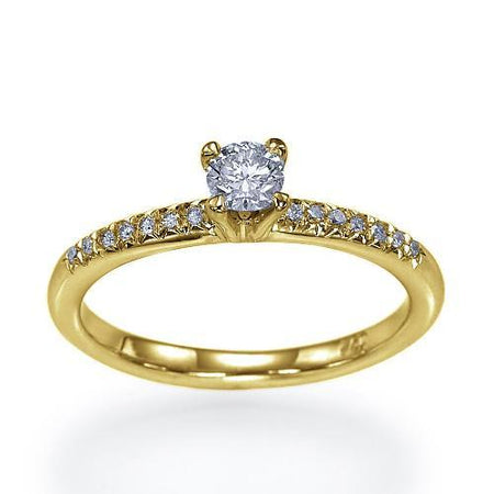 Sale 0.40 carat G-SI1 Round Diamond Engagement Ring in 14k Yellow Gold