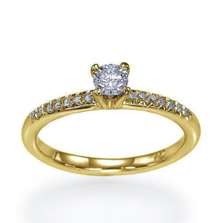 Sale 0.40 carat G-SI1 Round Diamond Engagement Ring in 14k Yellow or Rose Gold