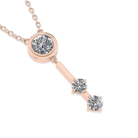 Daily Deal 0.4ct Diamond Rose Gold Unique Necklace