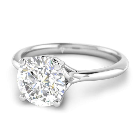 ManyChat 0.50 carat I/SI1 White Gold Round Diamond Engagement Ring Vintage Antique-Style Cathedral
