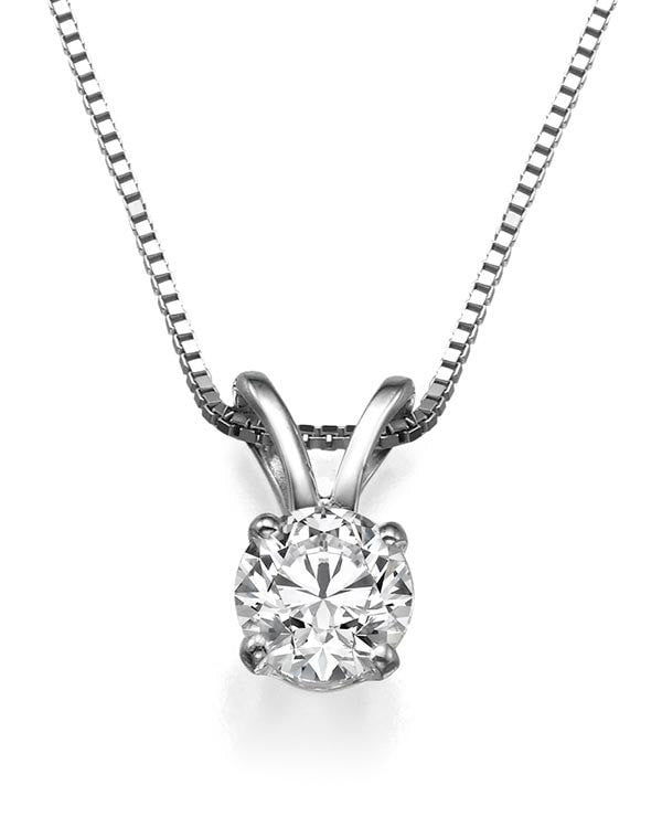 Pendants 0.50ct D/SI1 4-Prong Solitaire Diamond Solitaire Pendant Necklace in 14k White Gold