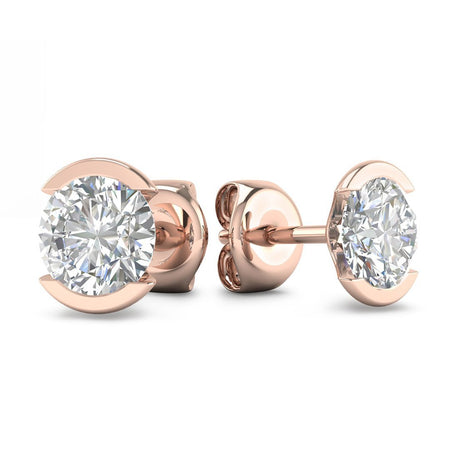 Daily Deal 0.50ct Diamond Rose Gold Semi-Bezel Earrings