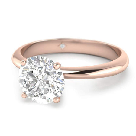 Sale 0.54 carat Rose Gold Timeless 4-Prong Tapered Round Diamond Engagement Ring